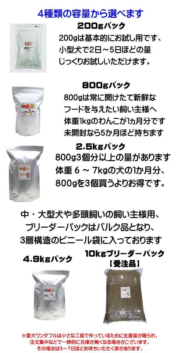 容量は4種類、それぞれに小粒、普通粒がえらべます。200gはお試し用に、800g、2.5kg、4.9kgはお飼いの状況に応じてお選びください