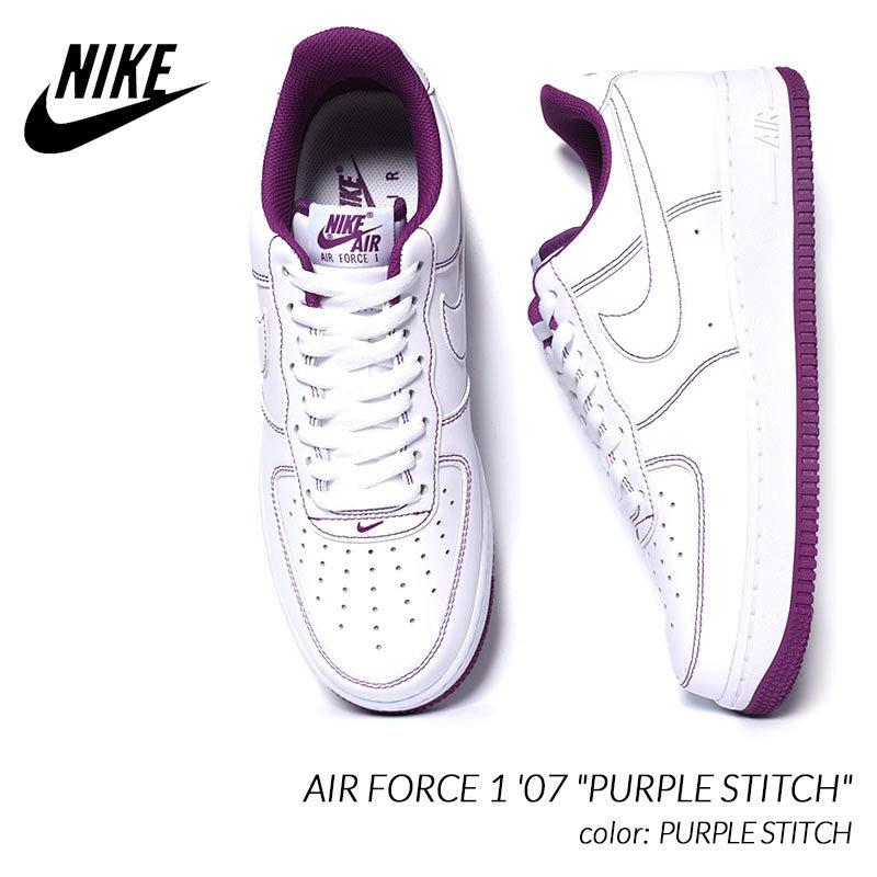 "NIKE AIR FORCE 1 '07 \""PURPLE STITCH\"" ナイキ エアフォース 1 スニーカー ( 白 ホワイト 紫 パープル メンズ CV1724-105 )大特価アウトレット"