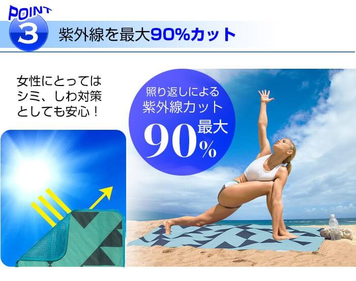 3.紫外線を最大90%カット