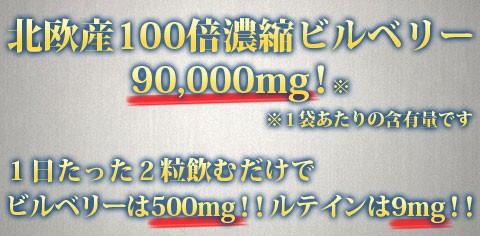 北欧産100倍濃縮ビルベリー90000mg※1袋あたりの含有量です
