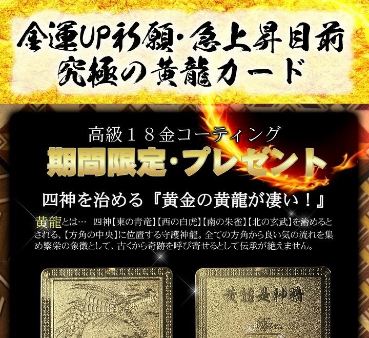 金運UP祈願・急上昇目前究極の黄龍カード(高級18金コーティング)期間限定・プレゼント