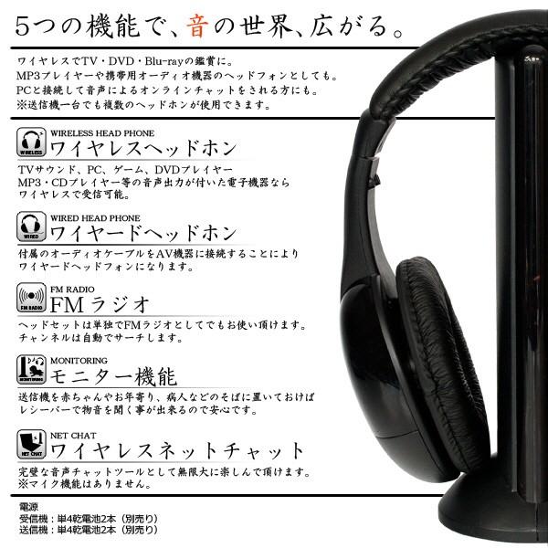 5つの機能で、音の世界、広がります(ワイヤレスヘッドホン・モニター機能・FMラジオ・ワイヤレスチャット・ワイヤードヘッドホン