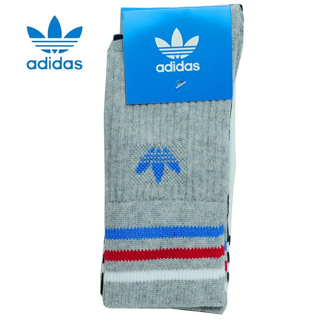 adidas アディダス オリジナルス 靴下 ライン クルー ソックス SOCKS 3P 3足組 キッズ ジュニア ベビー DH2958