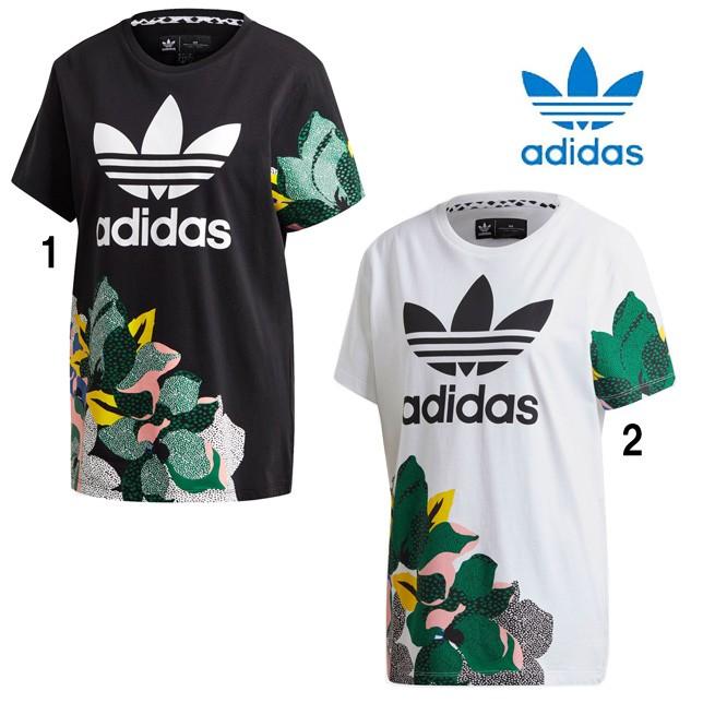 アディダス レディース オリジナルス HER Studio London ルーズ Tシャツ 花柄 トレフォイル TEE adidas IYT76