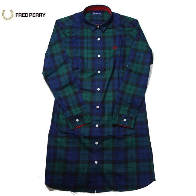 FRED PERRY チェック ワンピース ブラックウォッチ Check Shirt Dress F8253
