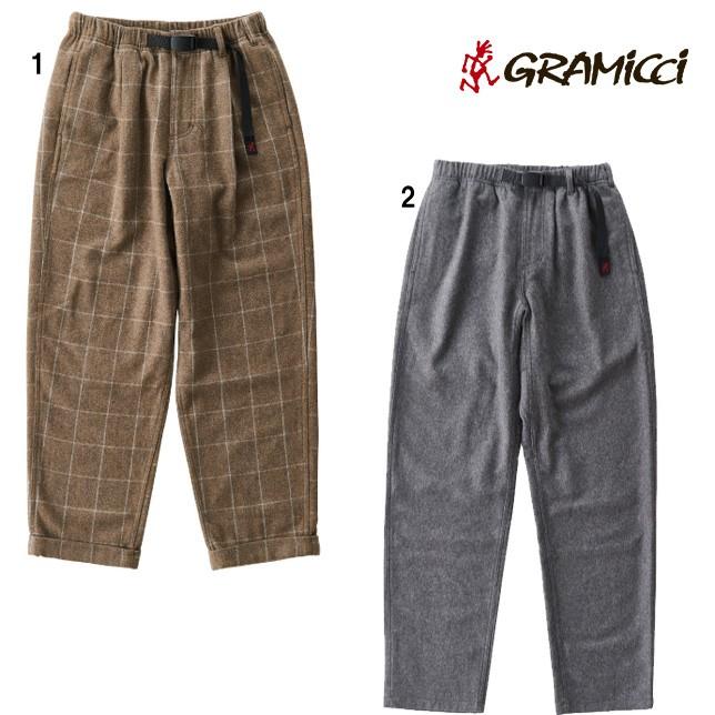 グラミチ GRAMICCI ウールブレンドタックテーパードパンツ ロングパンツ チェックパンツ 無地パンツ メンズ GMP-19F010