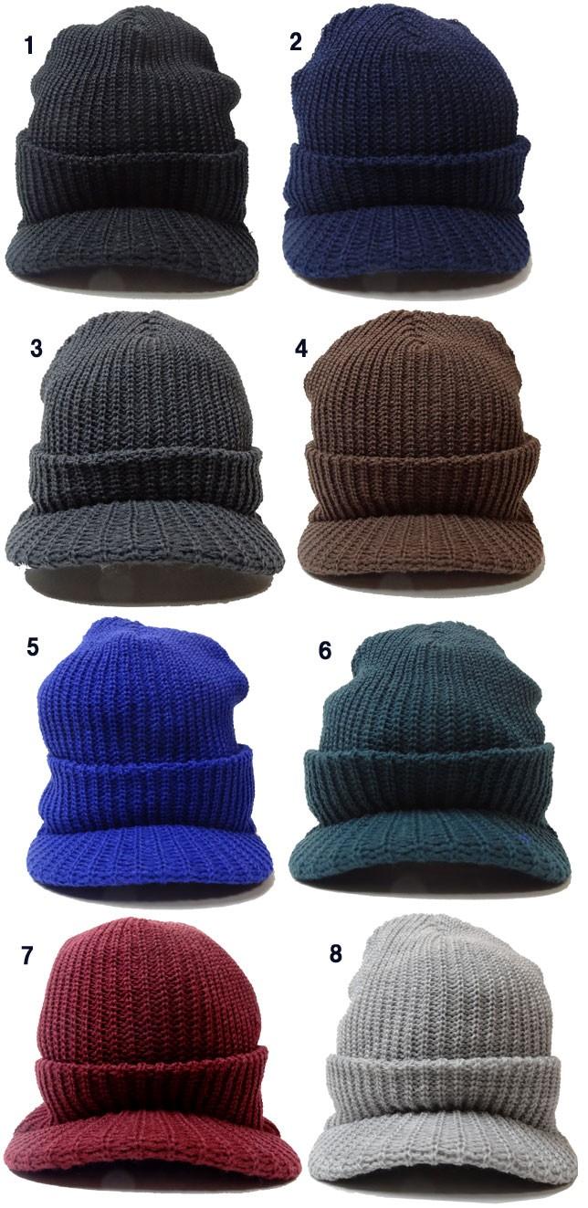 OLDMAN'S オールドマンズ ニット帽 SOLID WATCH CAP ソリッドバイザーワッチキャップ  タグ付き ツバ付 ニット帽 無地 メンズ OLD-2826