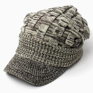 ニット帽 メンズ つば付き 大きい キャスケット レディース 帽子 アクリル クロス編み 送料無料 protocol 21
