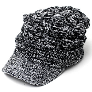 ニット帽 メンズ つば付き 大きい キャスケット レディース 帽子 アクリル クロス編み 送料無料 protocol 19