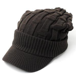 ニット帽 メンズ つば付き 大きい キャスケット レディース 帽子 アクリル クロス編み 送料無料 protocol 11