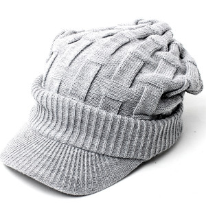 ニット帽 メンズ つば付き 大きい キャスケット レディース 帽子 アクリル クロス編み 送料無料 protocol 12
