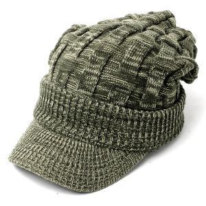 ニット帽 メンズ つば付き 大きい キャスケット レディース 帽子 アクリル クロス編み 送料無料 protocol 22