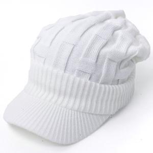 ニット帽 メンズ つば付き 大きい キャスケット レディース 帽子 アクリル クロス編み 送料無料 protocol 17