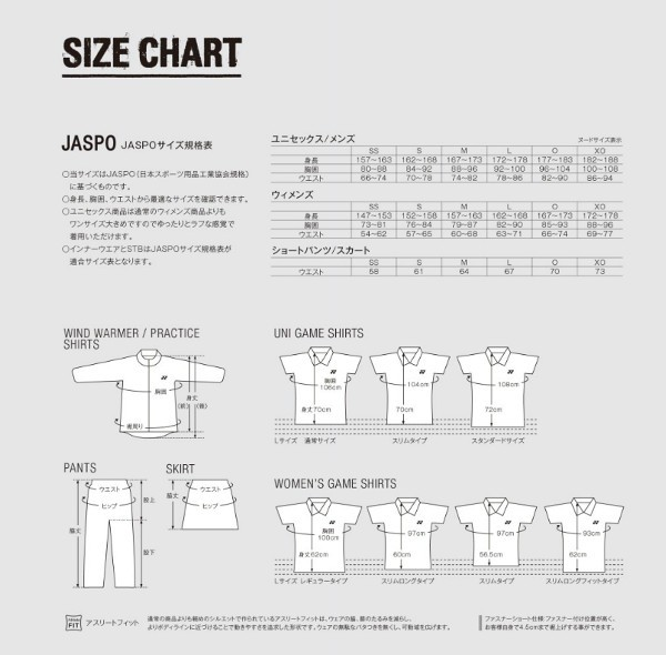 201509〜のサイズ表