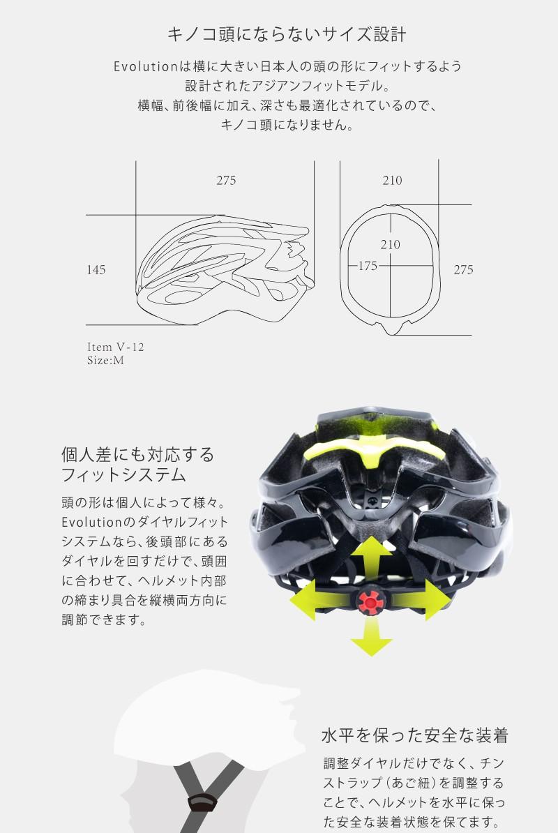 キノコ頭にならない、ヘルメット、ロードバイク用、アジアンフィット、自転車用、R2 EVOLUTION(エボリューション)