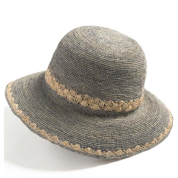 帽子 レディース 夏  ラフィア 麦わら 大きいサイズ UVハット ラフィアハット 飛ばない ツートーンラフィアハット つば広ハット 麦わら帽子 折りたたみ|queenhead|23