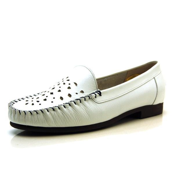 ローファー サブリナタイプ モカシン フラット 型抜き花柄 牛革 ぺたんこ靴