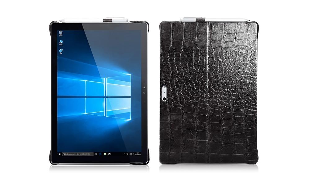 Microsoft SurfacePro4用のクロコ柄レザーケースの表裏デザイン
