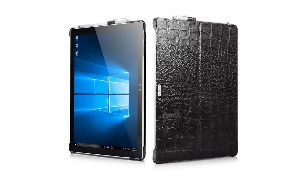 Microsoft SurfacePro4用のクロコ柄レザーケースの表裏デザイン2