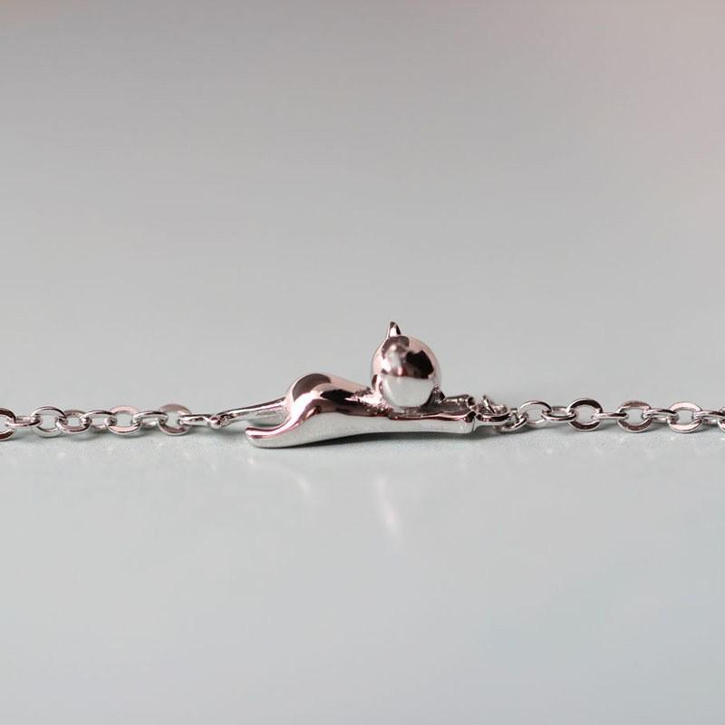 レディース ブレスレット アクセサリー ジュエリー シルバー 猫 2タイプ 条件付き送料無料 アニマルデザインブレスレット かわいい猫ブレスレット|re-lim|06