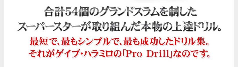 最短で、最もシンプルで、最も成功したドリル集。それがゲイブ・ハラミロの「Pro Drill」なのです。