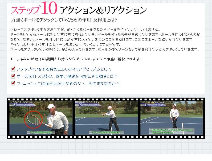 ターンをしてからボールに対して前に前に前進していき、ボールを打った後も動き続けていきます。