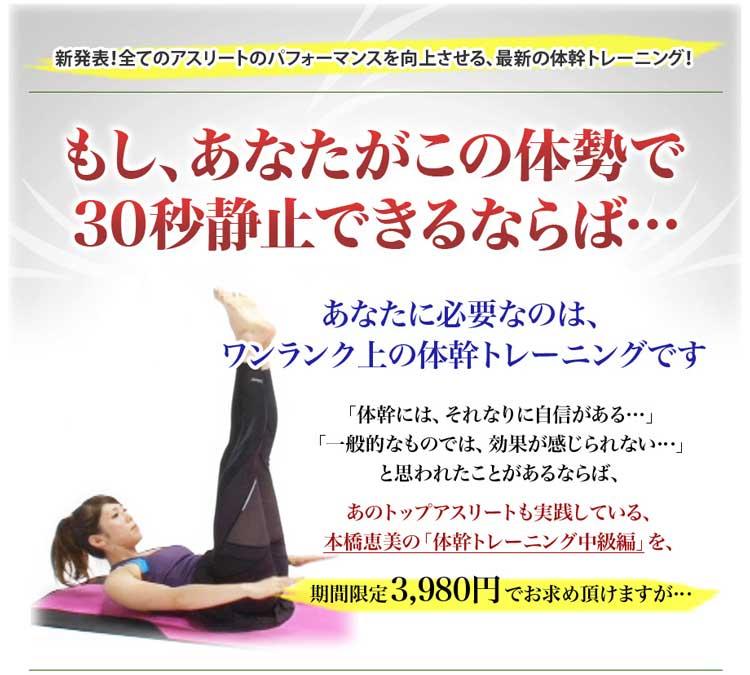 全てのアスリートのパフォーマンスを向上させる、最新の体幹トレーニング!あの、トップアスリートも実践している、本橋恵美の「体幹トレーニング」が、3,980円でお求め頂けます。
