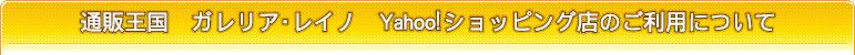 通販王国 ガレリア・レイノ Yahoo店のご利用について