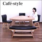 ダイニングテーブルセット 5人用 5点 三角テーブル ベンチ付き ナチュラル 北欧 モダン