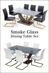 ダイニングテーブルセット 6人 7点 欧 おしゃれ モダン ガラステーブル