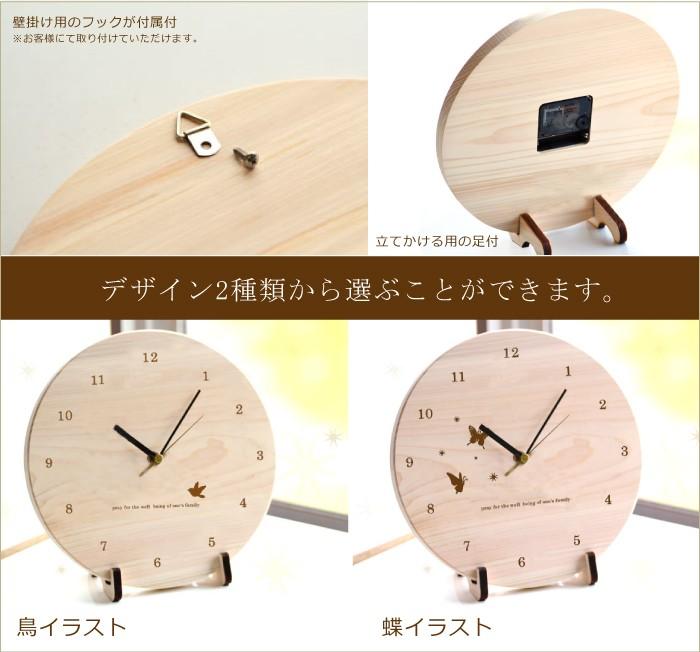 時計の飾り方の説明とデザインが2種類から選べる画像