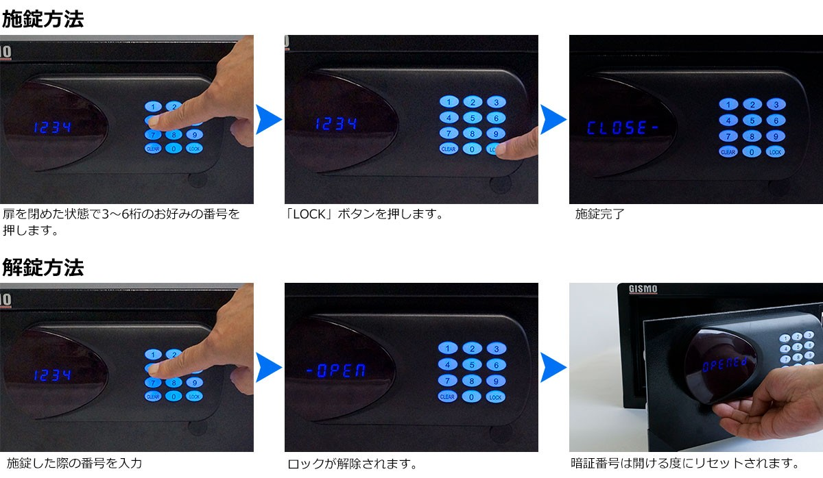 ホテル客室用金庫 ホテルセーフの施解錠方法
