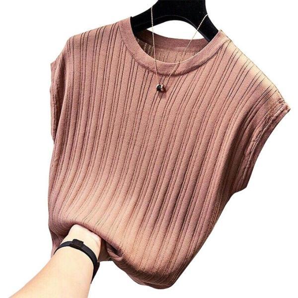 tシャツ ニットセーター サマーニット レディース フレンチ袖風 リブニットソートップス カットソー クルーニット 薄地 コットン 伸縮性   一部即納 rioty 25