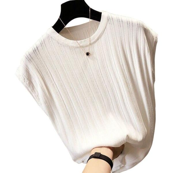tシャツ ニットセーター サマーニット レディース フレンチ袖風 リブニットソートップス カットソー クルーニット 薄地 コットン 伸縮性   一部即納 rioty 22