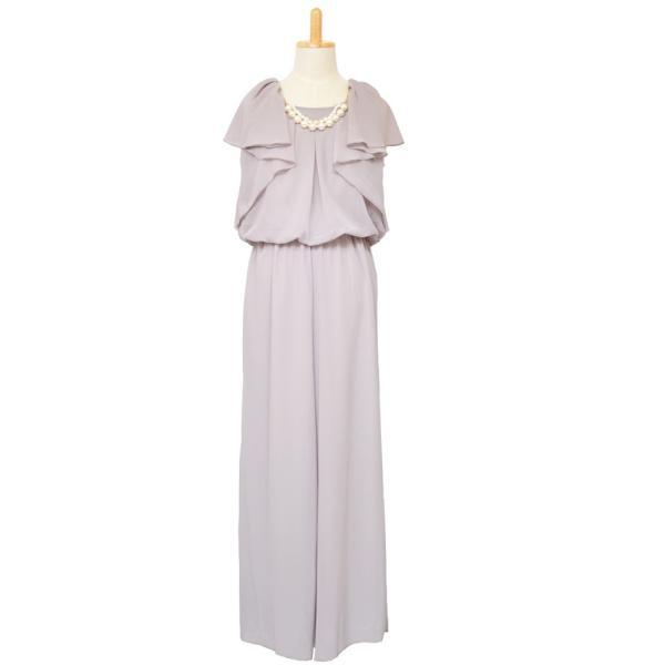 パーティードレス 結婚式 ドレス パンツドレス 大きいサイズ 謝恩会 袖あり ベルト シフォン パール ネックレス 体型カバー 20代 30代 40代 50代|rippleplus-shop|16