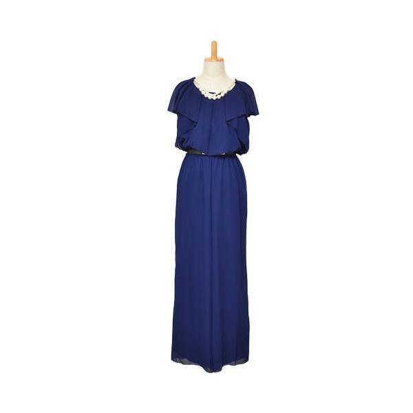 パーティードレス 結婚式 ドレス パンツドレス 大きいサイズ 謝恩会 袖あり ベルト シフォン パール ネックレス 体型カバー 20代 30代 40代 50代|rippleplus-shop|13