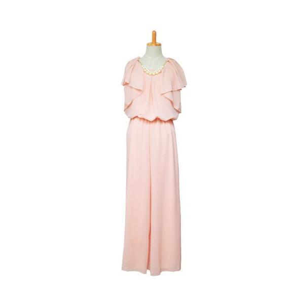 パーティードレス 結婚式 ドレス パンツドレス 大きいサイズ 謝恩会 袖あり ベルト シフォン パール ネックレス 体型カバー 20代 30代 40代 50代|rippleplus-shop|11