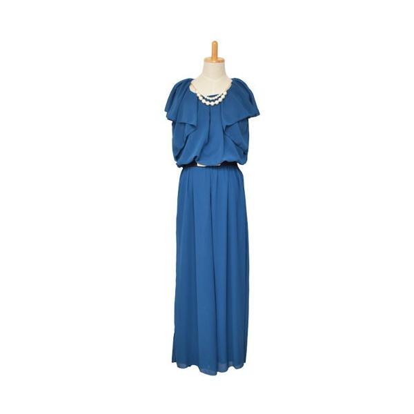 パーティードレス 結婚式 ドレス パンツドレス 大きいサイズ 謝恩会 袖あり ベルト シフォン パール ネックレス 体型カバー 20代 30代 40代 50代|rippleplus-shop|12