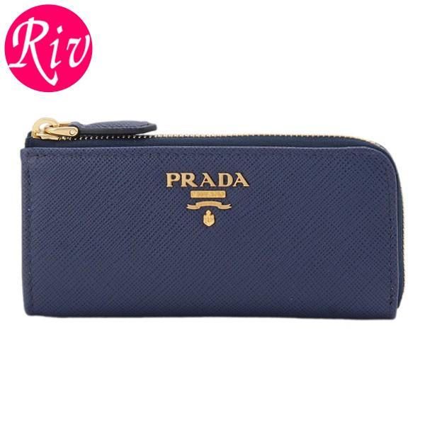 プラダ PRADA L字ファスナーキーケース ブルー サフィアノレザー 1pp026safmet-blue