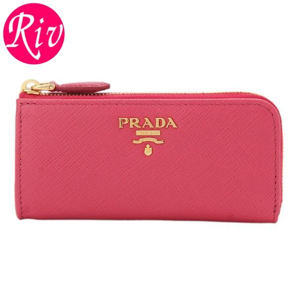 プラダ PRADA L字ファスナーキーケース ピンク サフィアノレザー 1pp026safmet-peon