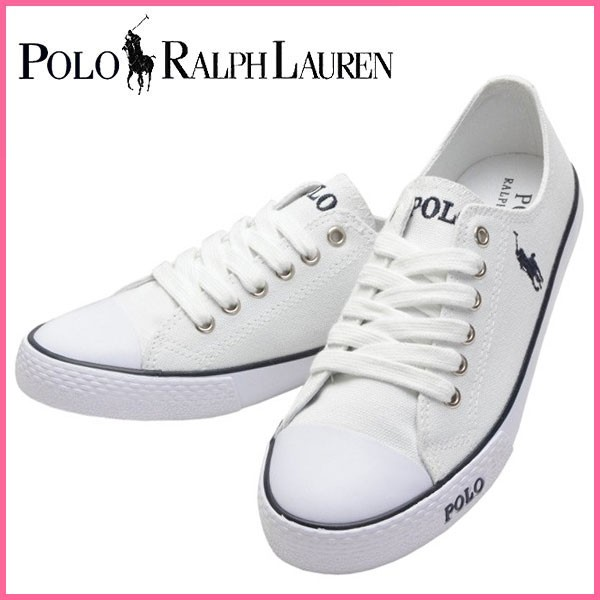【オープンセール】ポロ ラルフローレン Polo Ralph Lauren スニーカー ホワイト キャンバス×ラバー carsonlacew ガールズ・ジュニア 【Luxury Brand Selection】