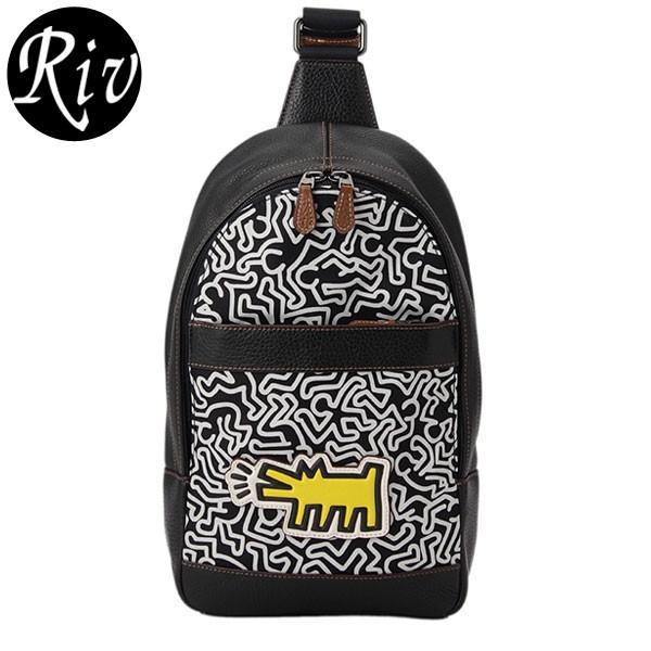 コーチ COACH メンズ Keith Haring キースへリング ショルダーバッグ スリングバッグ ブラック×オフホワイトマルチ ナイロン×レザー f11705qbmgs アウトレット