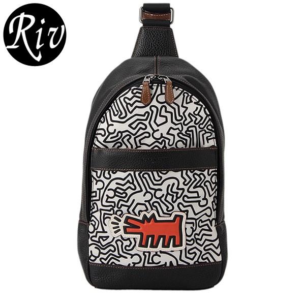 コーチ COACH メンズ Keith Haring キースへリング ショルダーバッグ スリングバッグ オフホワイト×ブラックマルチ ナイロン×レザー f11705qbmgt アウトレット