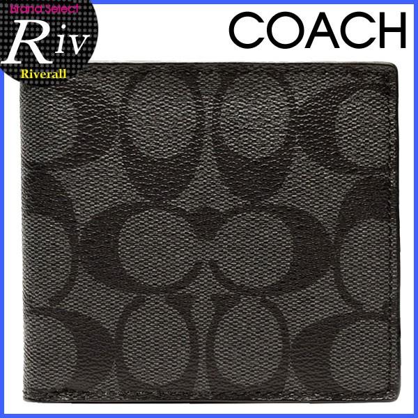 【P交換】コーチ 財布 COACH 財布 メンズ 二つ折り財布 チャコール×ブラック PVC×レザー f75006cqbk アウトレット