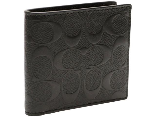 コーチ 財布 COACH 財布  メンズ 二つ折り財布 ブラック クロスグレインレザー f75363blk アウトレット