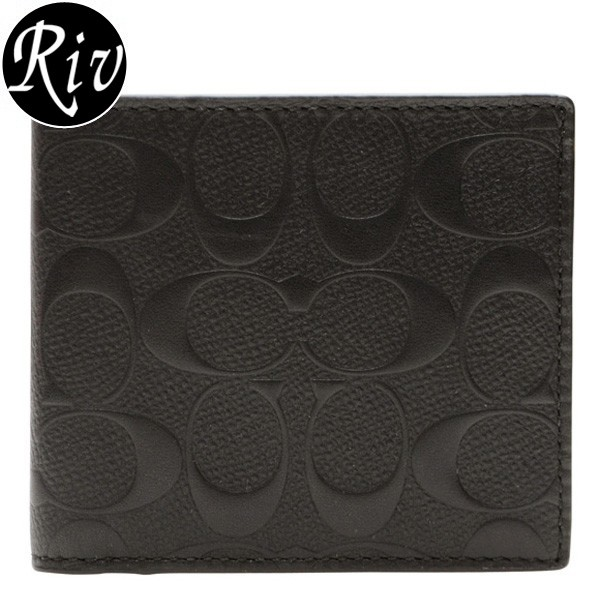 【メルマガ限定】コーチ 財布 COACH 財布 メンズ 二つ折り財布 ブラック クロスグレインレザー f75363blk アウトレット