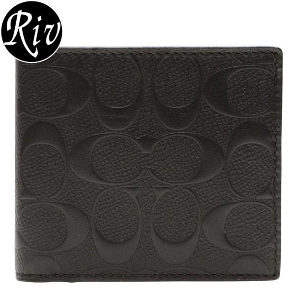 【P交換】コーチ 財布 COACH 財布 メンズ 二つ折り財布 ブラック クロスグレインレザー f75363blk アウトレット