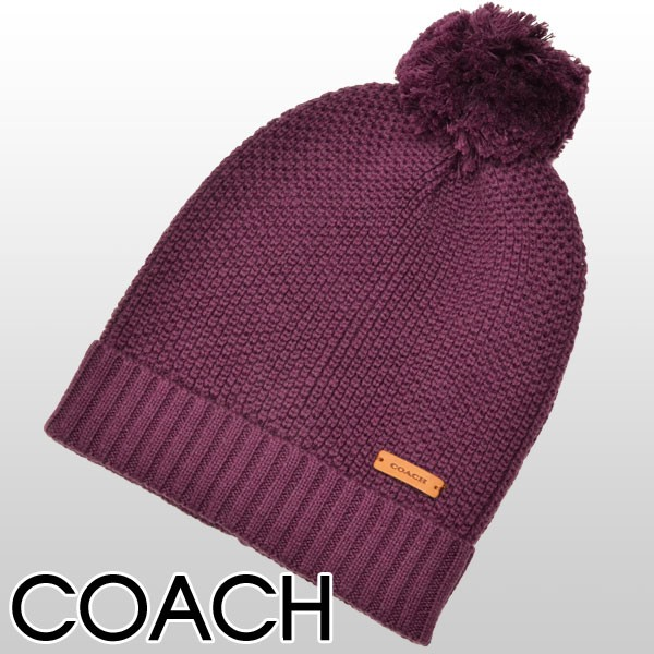 【セール】コーチ COACH タックステッチ ニット帽子 ブラックバイオレット ウール55%×コットン45% f85562bnh アウトレット 【smtb-m】/【YDKG-m】/【Luxury Brand Selection】
