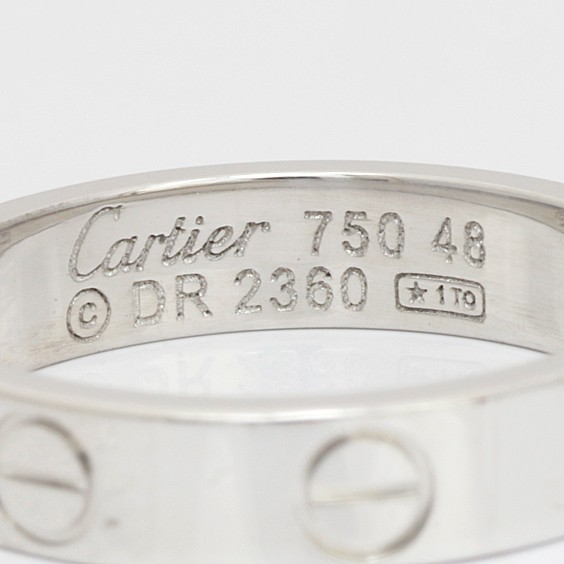 K18WG リング Cartier ミニラブ #48 8号 18金 ホワイトゴールド カルティエ