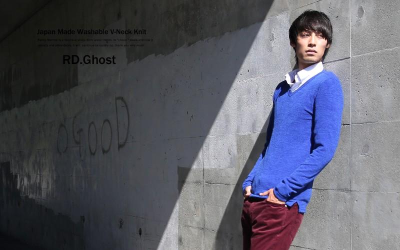 【RD.Ghost】国産/日本製ウォッシャブルニットVネックセーター